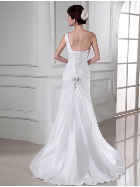 Trumpet/Mermaid Beading Applique One-Shoulder Sweep/Brush Train Sleeveless Satin Wedding Dresses