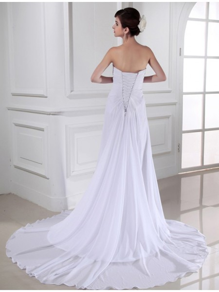Sheath/Column Pleats Hand-Made Flower Sweetheart Chapel Train Sleeveless Chiffon Wedding Dresses
