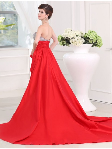 A-Line/Princess Beading Sweetheart Asymmetrical Sleeveless Taffeta Dresses