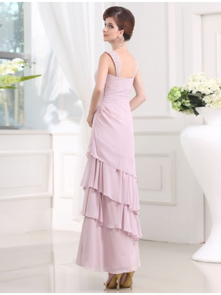 A-Line/Princess Beading Layers Straps Ankle-Length Sleeveless Chiffon Dresses