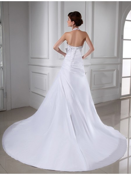 A-Line/Princess Beading Applique Halter Chapel Train Sleeveless Taffeta Wedding Dresses