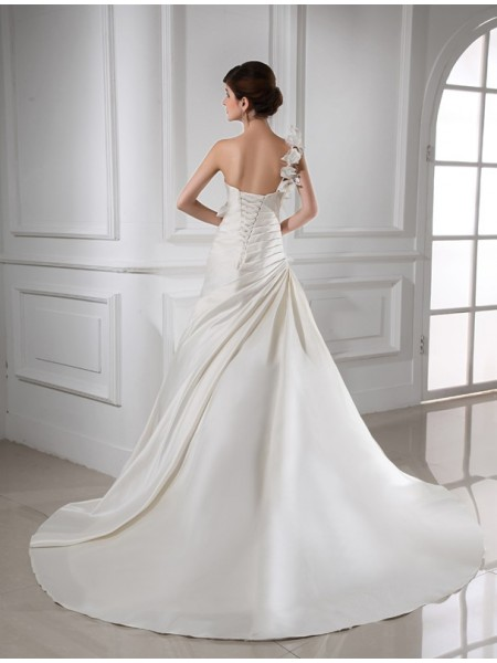 A-Line/Princess Hand-Made Flower One-Shoulder Chapel Train Sleeveless Satin Wedding Dresses