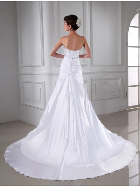A-Line/Princess Beading Applique Strapless Chapel Train Sleeveless Elastic Woven Satin Wedding Dresses