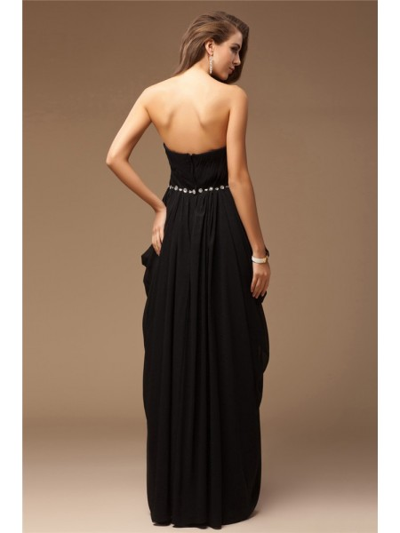Sheath/Column Beading Sweetheart Floor-Length Sleeveless Chiffon Dresses