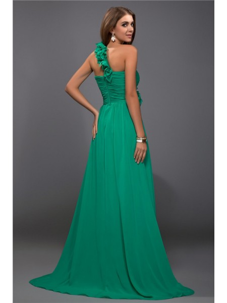 Sheath/Column Ruffles Hand-Made Flower One-Shoulder Floor-Length Sleeveless Chiffon Dresses
