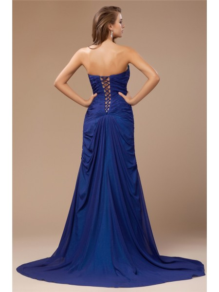 Sheath/Column Beading Sweetheart Sweep/Brush Train Sleeveless Chiffon Dresses