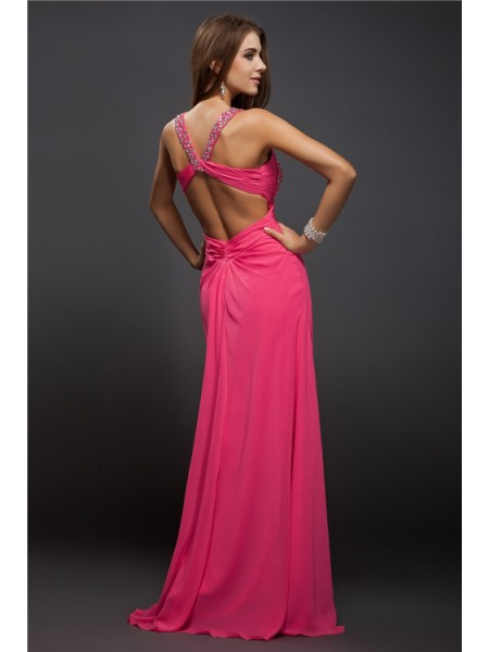 Sheath/Column Ruffles Straps Floor-Length Sleeveless Chiffon Dresses
