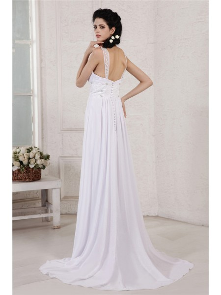 Sheath/Column Pleats Beading Applique Ruched Spaghetti Straps Court Train Sleeveless Chiffon Wedding Dresses