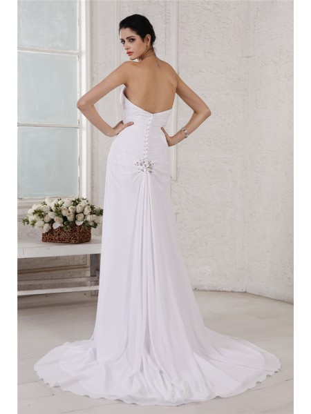 Sheath/Column Pleats Beading Applique Strapless Court Train Sleeveless Chiffon Wedding Dresses