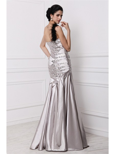 A-Line/Princess Pleats Beading Sweetheart Floor-Length Sleeveless Elastic Woven Satin Dresses