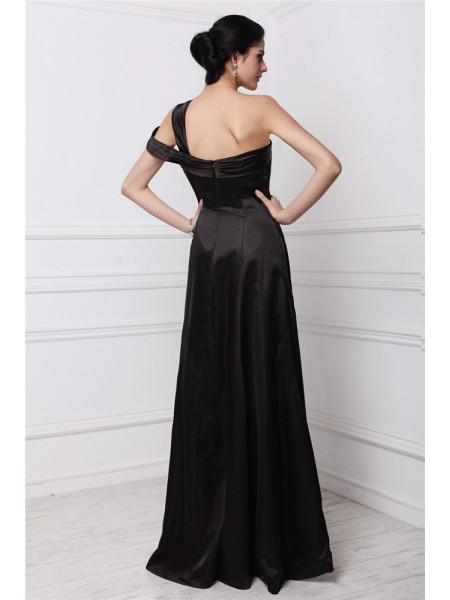Sheath/Column Beading One-Shoulder Floor-Length Sleeveless Elastic Woven Satin Dresses