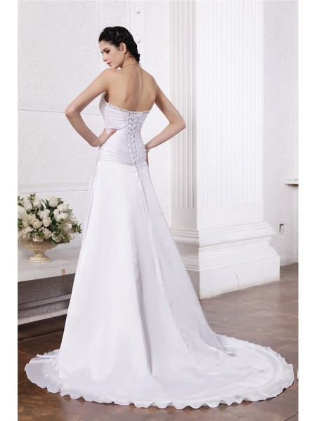 A-Line/Princess Ruffles Beading Strapless Court Train Sleeveless Silk like Satin Wedding Dresses