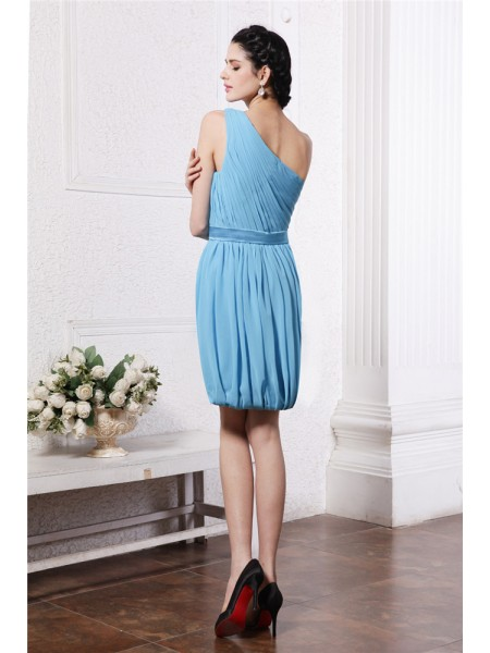 Sheath/Column Pleats One-Shoulder Short/Mini Sleeveless Chiffon Dresses