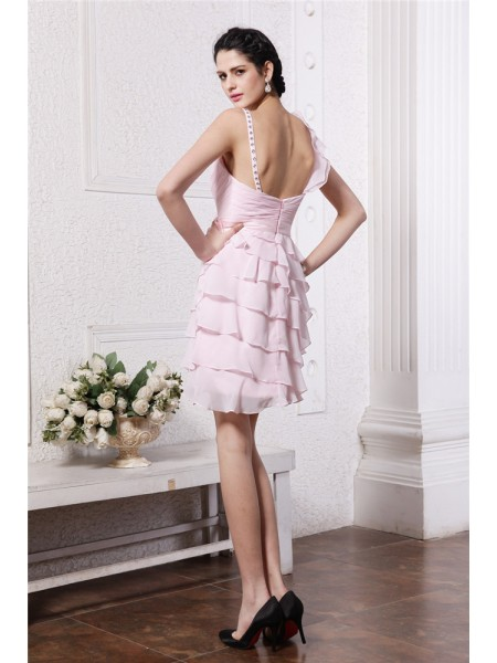 Sheath/Column Ruffles Spaghetti Straps Short/Mini Sleeveless Chiffon Dresses