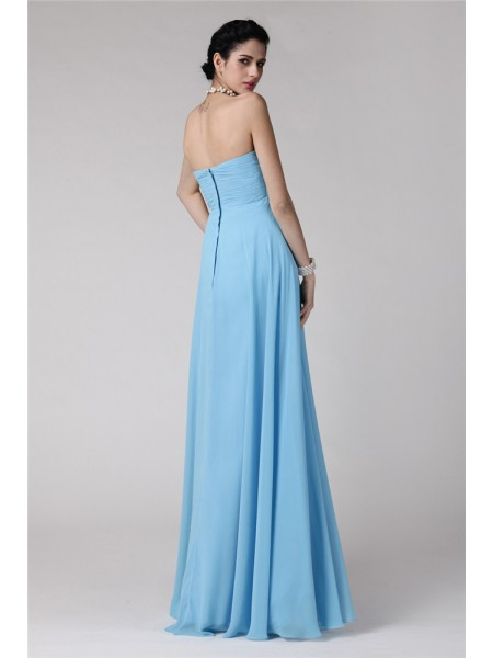 Sheath/Column Ruffles Strapless Floor-Length Sleeveless Chiffon Bridesmaid Dresses
