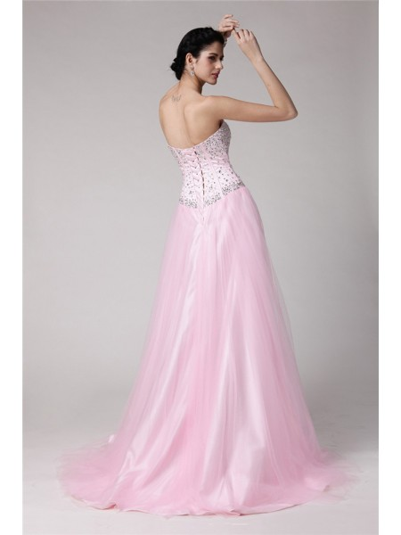 A-Line/Princess Beading Sweetheart Sweep/Brush Train Sleeveless Elastic Woven Satin Net Dresses