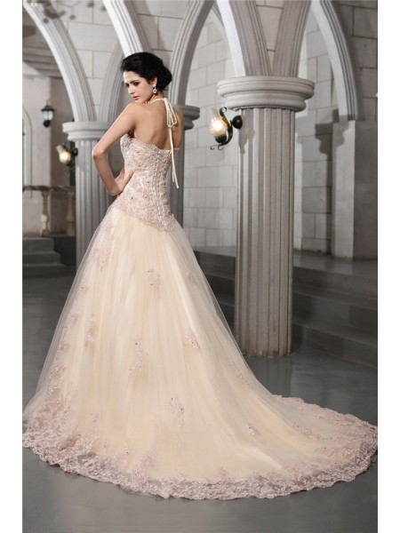 A-Line/Princess Beading Applique High Neck Chapel Train Sleeveless Net Wedding Dresses