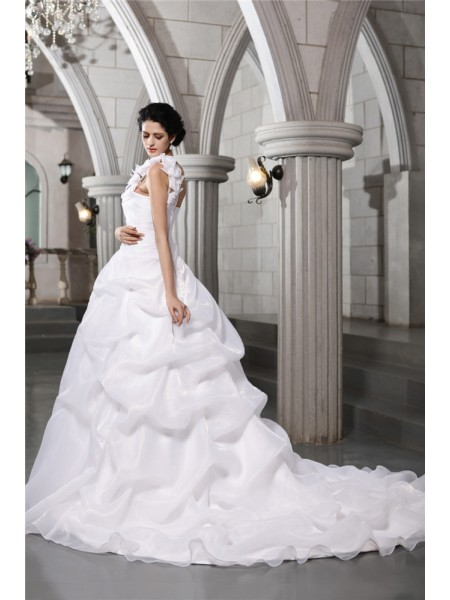 Ball Gown Pleats One-Shoulder Chapel Train Sleeveless Organza Wedding Dresses