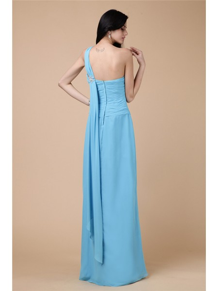 Sheath/Column Pleats One-Shoulder Floor-Length Sleeveless Chiffon Dresses