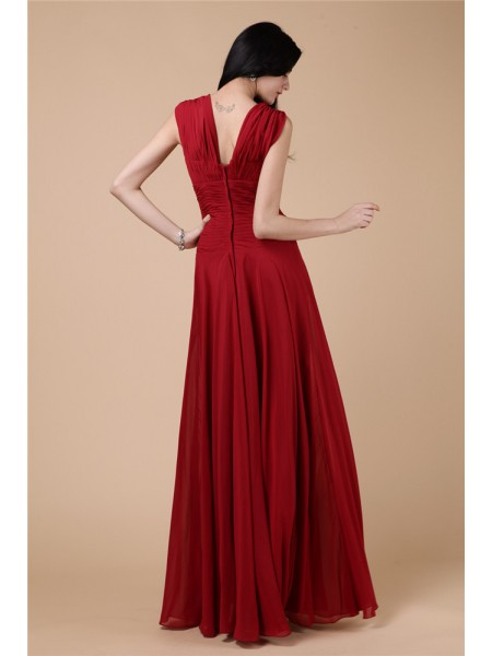Sheath/Column Pleats Beading Straps Floor-Length Sleeveless Chiffon Dresses