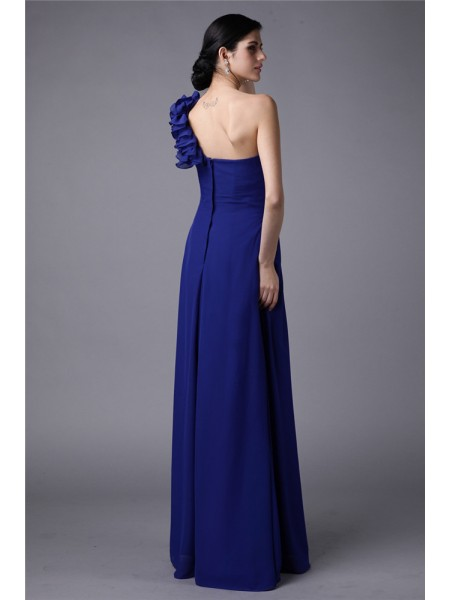 Sheath/Column Pleats One-Shoulder Floor-Length Sleeveless Chiffon Bridesmaid Dresses