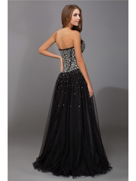 Sheath/Column Beading Sweetheart Floor-Length Sleeveless Net Satin Dresses