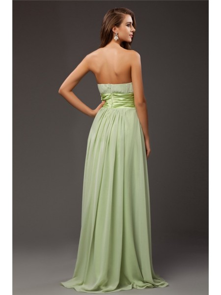 Sheath/Column Ruffles Hand-Made Flower Strapless Floor-Length Sleeveless Chiffon Elastic Woven Satin Bridesmaid Dresses
