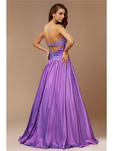 A-Line/Princess Beading Strapless Floor-Length Sleeveless Taffeta Dresses