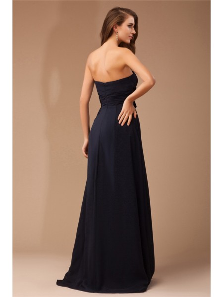 Sheath/Column Ruffles Strapless Floor-Length Sleeveless Chiffon Elastic Woven Satin Dresses
