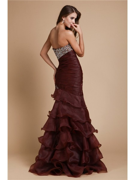 Trumpet/Mermaid Beading Sweetheart Floor-Length Sleeveless Organza Dresses