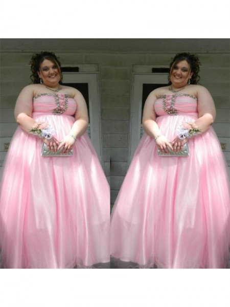 A-Line/Princess Strapless Beading Floor-Length Satin Plus Size Dress