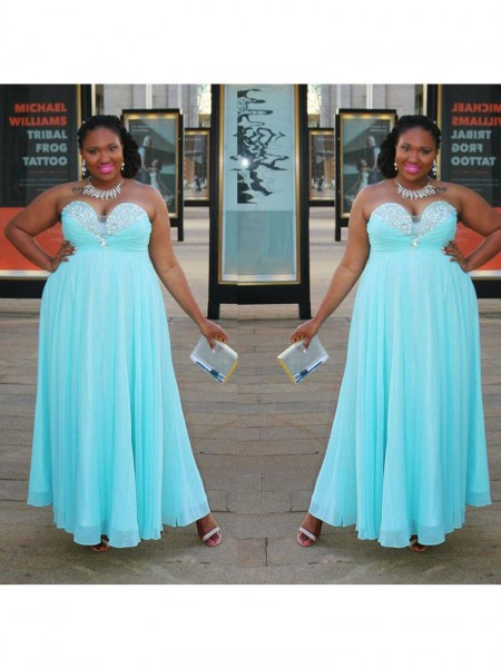 A-Line/Princess Sweetheart Beading Floor-Length Chiffon Plus Size Dress
