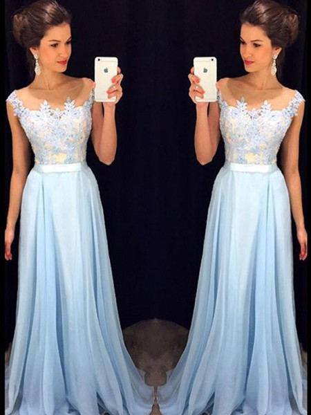 A-Line/Princess Chiffon Sheer Neck Sleeveless Sweep/Brush Train Applique Dresses