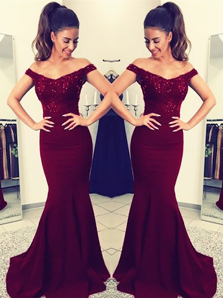 Trumpet/Mermaid Satin Lace Sweep/Brush Train Sleeveless Off-the-Shoulder Dresses