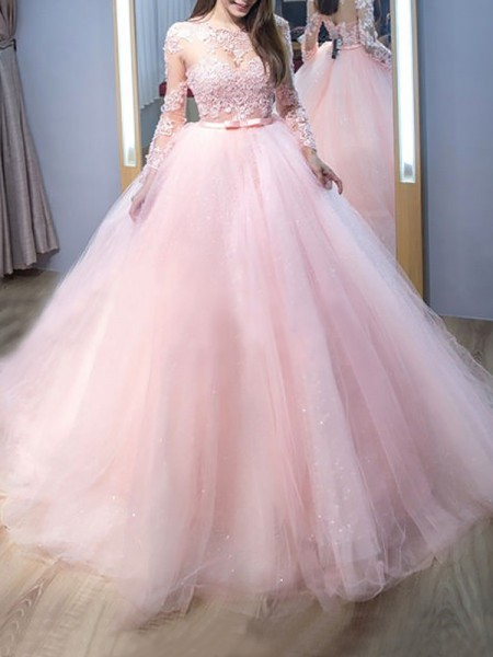 Ball Gown Tulle Lace Sweep/Brush Train Long Sleeves Jewel Dresses