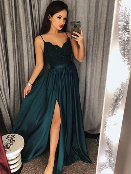 A-Line/Princess Silk like Satin Lace Floor-Length Sleeveless Spaghetti Straps Dresses