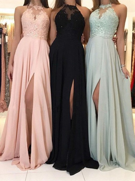 A-Line/Princess Chiffon Applique Sweep/Brush Train Sleeveless Halter Dresses