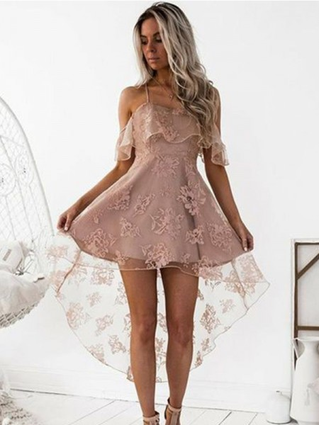 A-Line/Princess Off-the-Shoulder Satin Short/Mini Dress with Lace