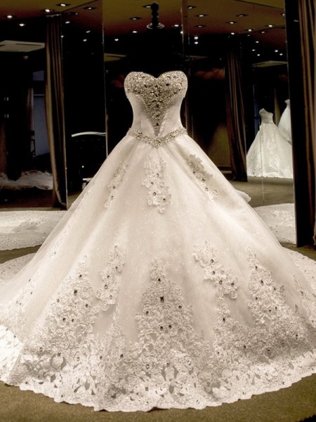 Ball Gown Cathedral Train Sequin Sweetheart Sleeveless Tulle Wedding Dresses