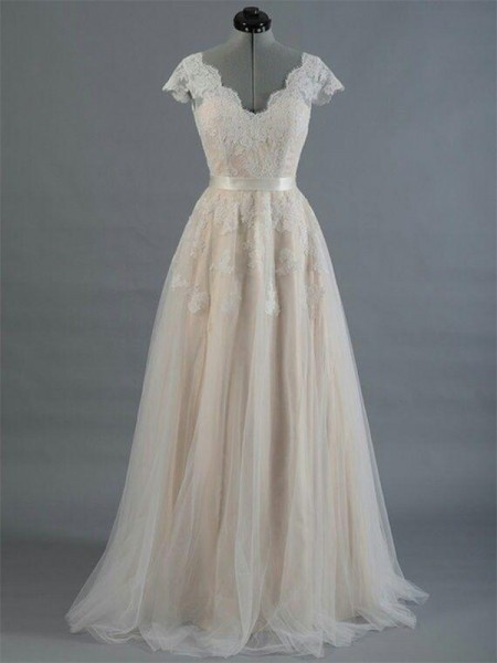 A-Line/Princess Floor-Length Applique V-neck Sleeveless Lace Wedding Dresses