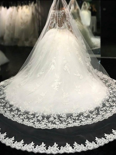 Ball Gown Cathedral Train Lace Scoop Long Sleeves Tulle Wedding Dresses
