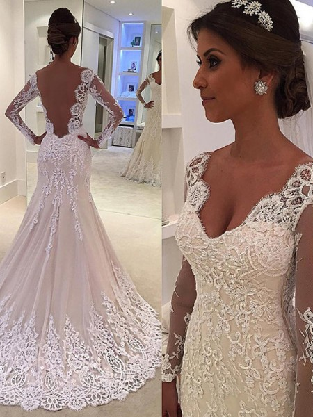 Trumpet/Mermaid Court Train Lace V-neck Long Sleeves Lace Wedding Dresses