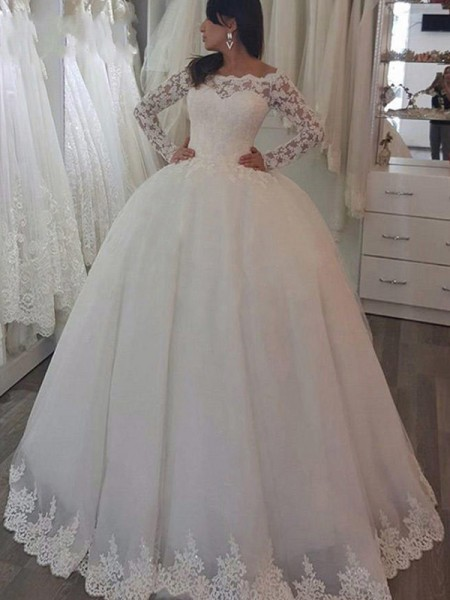 Ball Gown Sweep/Brush Train Applique Off-the-Shoulder Long Sleeves Lace Wedding Dresses