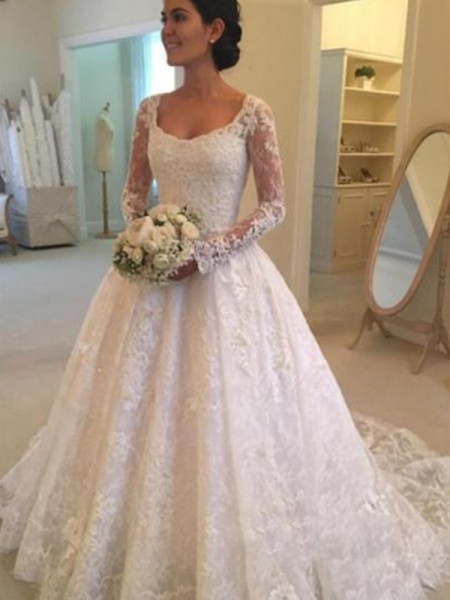 Ball Gown Cathedral Train Ruffles Scoop Long Sleeves Lace Wedding Dresses