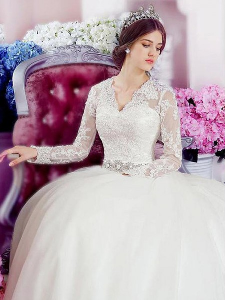 A-Line/Princess Cathedral Train Applique V-neck Long Sleeves Tulle Wedding Dresses