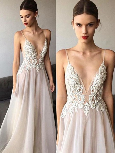 A-Line/Princess Sweep/Brush Train Lace V-neck Sleeveless Tulle Wedding Dresses