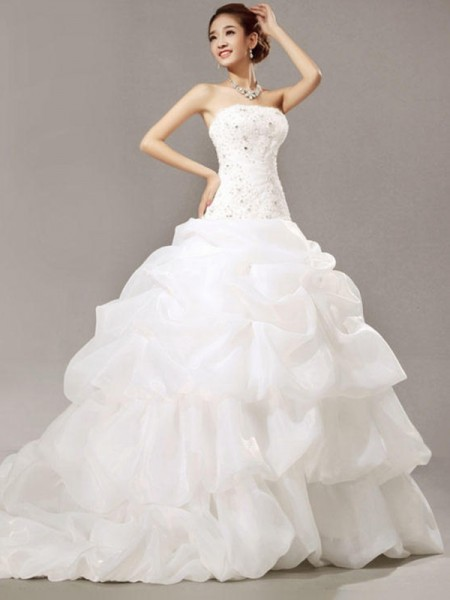 Ball Gown Cathedral Train Beading Strapless Sleeveless Organza Wedding Dresses