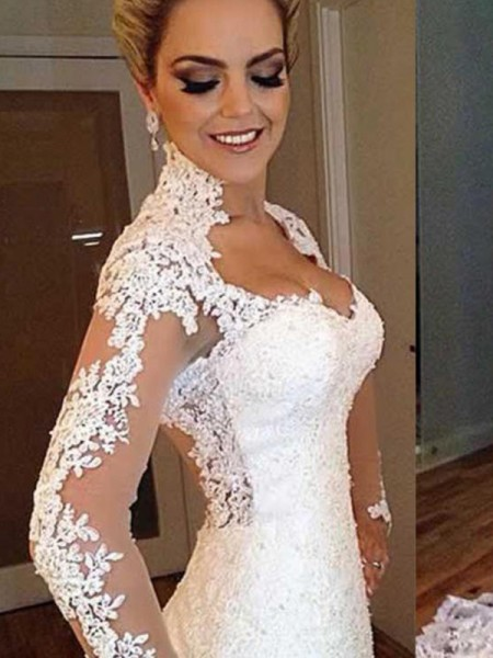 Trumpet/Mermaid Sweep/Brush Train Applique V-neck Long Sleeves Lace Wedding Dresses