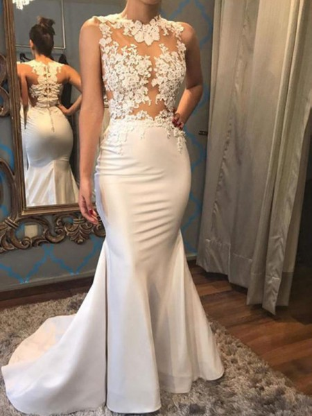 Trumpet/Mermaid Court Train Applique Scoop Sleeveless Satin Wedding Dresses