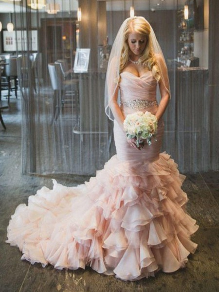 Trumpet/Mermaid Court Train Ruffles Sweetheart Sleeveless Organza Wedding Dresses